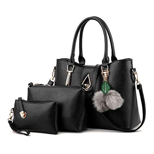 3 Pièces Sacs Pour Femmes en PU Cuir Vintage Sac à main / Sac à bandoulière Pochette Gris clair A Noir