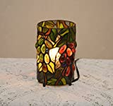 grape tiffany lamp - Stained Glass Tiffany Style Grape Vine Round Desktop Night Light Table Lamp.
