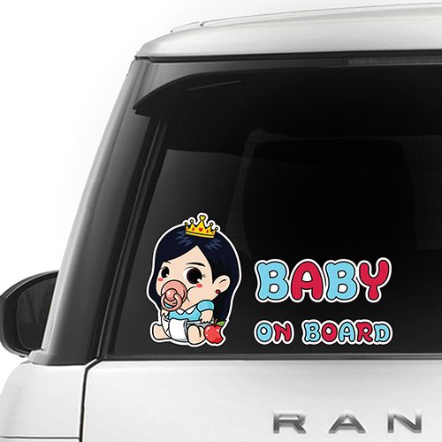 [CUSTOMI] Snow White Baby on Board ENG-SNOW-001 - Full Color Car Window Safety Sign Decal Sticker - Sky Blue, Red