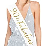 90 and Fabulous Satin Sash - 90th Birthday Sash 90 Birthday Gifts Party Favors, Supplies and Decorations (White)