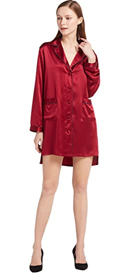 LILYSILK Women s Silk Nightgown High Low Long Sleeve Nightshirt Ladies  Nightdress 100% 22 Momme Pure 265b7822b
