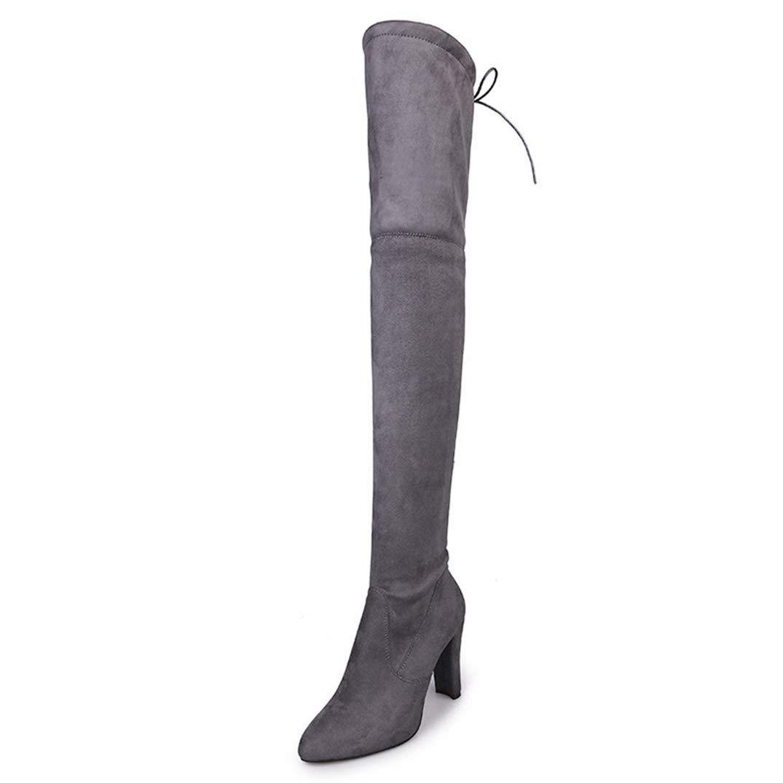 Grey Saborz Thigh High Woman Boots Thin High Heels Platform Over The Knee Boots