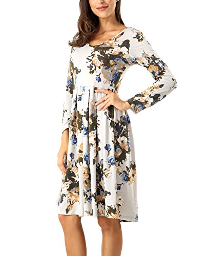 cd5863b09dfe Features. Womens Dresses Casual Floral Print Long Sleeve Swing Pleated  Skater A Line Tunic Dress with Pockets ...