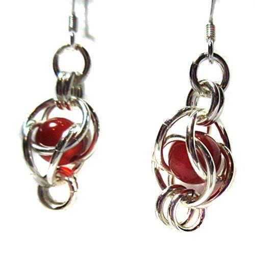 Drop Earrings Exquisite Genuine Carnelian Beads Floating In .925 Sterling Silver Baskets Fish Hook Ear wires Hypoallergenic