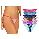 Undies.com Women's Cotton String Bikini with Lace, Assorted, Medium