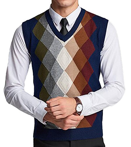 DD.UP Men's Slim Fit Argyle Plaid V-Neck Sweater Vest