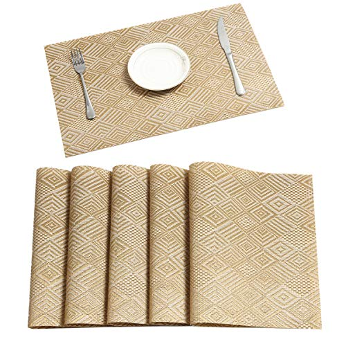 Pauwer Gold Placemats Set of 6 for Dining Table Woven Vinyl Placemats Washable Heat Resistant Kitchen Table Placemats Wipe Clean