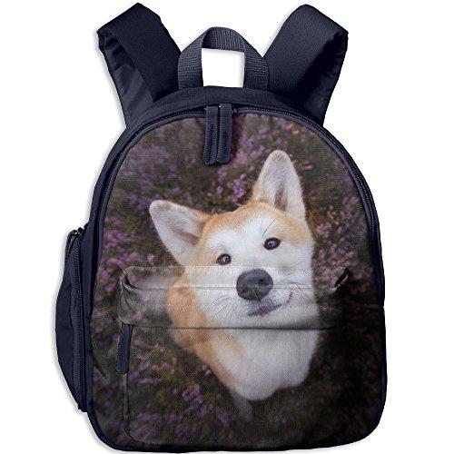 Sunmoonet Canvas Backpack, Face Funny Dog Lavender Lightweight Hiking Backpack For Boys Girls