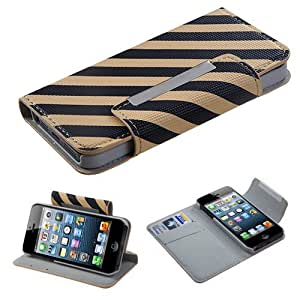 Fits Apple iPhone 5 Hard Plastic Snap on Cover Black/Yellow Stripe Book-Style MyJacket Wallet (with card slot) (752) AT&T, Cricket, Sprint, Verizon (does NOT fit Apple iPhone or iPhone 3G/3GS or iPhone 4/4S)