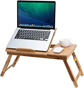 Lap Desk- Fits up to 13.5 Inch Laptop Desk, Foldable Bed Tray Breakfast Table with 4 Angles Tilting Top, Height Adjustable Laptop Stand