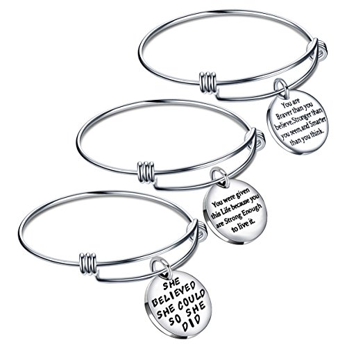 lauhonmin Graduation Gifts Bracelets for Women Valentine Bangle Bracelets for Girl - She Believed She Could So She Did (Style C 3PCS Bracelet Set)