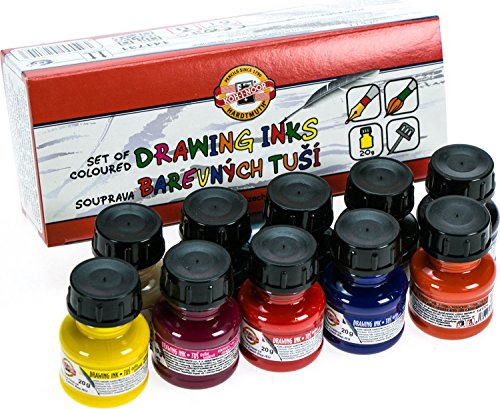 Koh-i-noor 10 X 20g Colored Drawing Inks 141731 (Koh I Noor Rapidograph Pen Set)