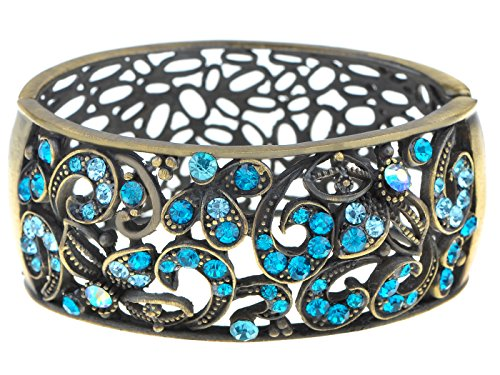 Box Music Vine Blue (Alilang Antique Paisley Vine Blue Synthetic Sapphire Zircon Crystal Rhinestone Cuff Bangle Bracelet)