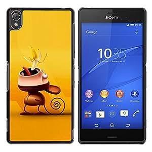 Caucho caso de Shell duro de la cubierta de accesorios de protección BY RAYDREAMMM - Sony Xperia Z3 - Cute Funny Monkey Banana