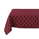 Deconovo Modern Table Cloth Wrinkle Resistant Jacquard Morrocan Table Cover Spillproof Tablecloth for Kitchen 54×72 inch Red