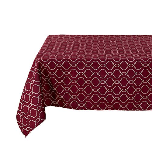 Deconovo Modern Table Cloth Wrinkle Resistant Jacquard Morrocan Table Cover Spillproof Tablecloth for Kitchen 54x72 inch Red