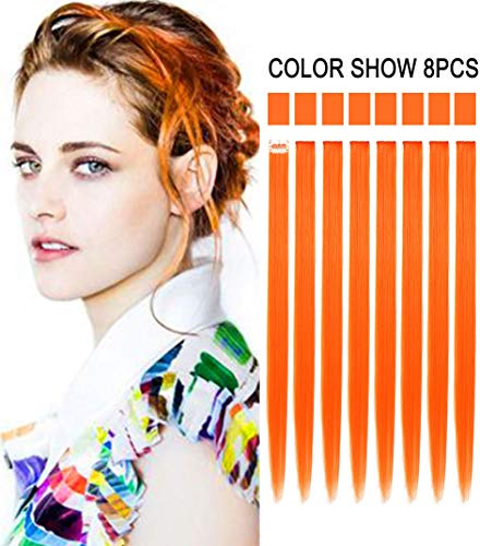 8PCS Orange Hairpieces for Kids Highlights Straight Clip in Colored/Colorful Hair Extensions for Girls and Dolls -