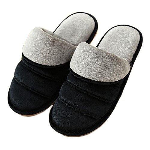 ESTAMICO Men Women Couple Anti-Slip Winter Warm Home Slippers Shoes Black 5MifbfG1xs