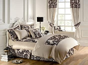 Royal Damask Fully Lined Pencil Pleat Curtains Cream Chocolate ...