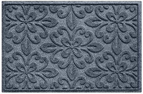 Bungalow Flooring Waterhog Doormat, 2 x 3 Made in USA, Durable and Decorative Floor Covering, Skid Resistant, Indoor Outdoor, Water-Trapping, Phoenix Collection, Bluestone