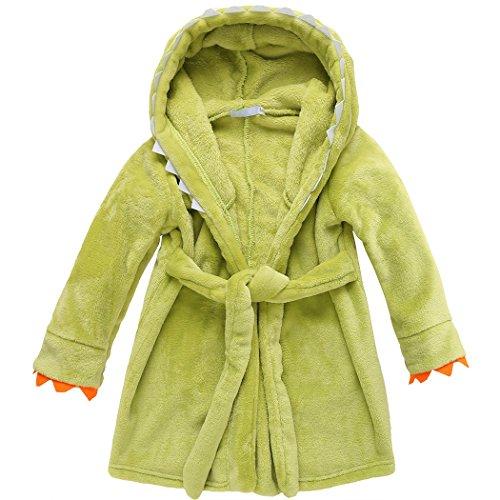 BELLE-LILI Kids Girls Fleece Robe Cotton Animal Dinosaur Hooded Bathrobe