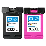 2 Pack Remanufactured HP 302 XL 302XL Ink Cartridges High Yield Black Tri-Color Compatible HP F6U65AE F6U66AE F6U67AE F6U68AE HP OfficeJet 3830 4650 HP DeskJet 3630 2130 1110 HP Envy 4520 4524 4527