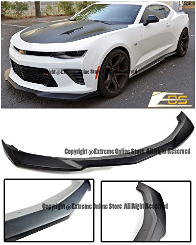 ZL1 Style ABS Plastic Primered Black Front Bumper Lower Lip Wing Splitter Ground Effect For 2016-Present Chevrolet Camaro SS V8 2016 2017 2018 16 17 18 - Style Front Splitter