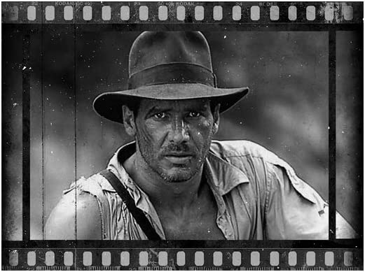 Stuff by Roman Indiana Jones Wall Art Poster Black White Movie Print, Indiana Jones Home Bedroom Decor Vintage Gift for Him Her (2028 in)