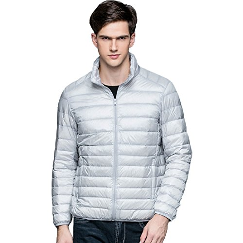 Jackets HZCX Men's Packable FASHION Stand Down Long Grey Sleeve Quilted Collar Lightweight rqrv7w85W