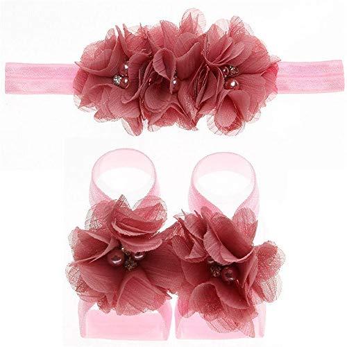 Zohto Newborn Infant Baby Girls Headband Foot Flower Elastic Hair Band Accessories]()