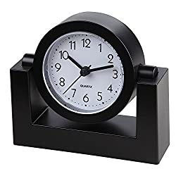 Small Battery Operated Analog Travel Alarm Clock Silent No Ticking, Lighted on Demand and Snooze, Beep Sounds, Gentle Wake, Ascending Alarm, Easy Set (Black)
