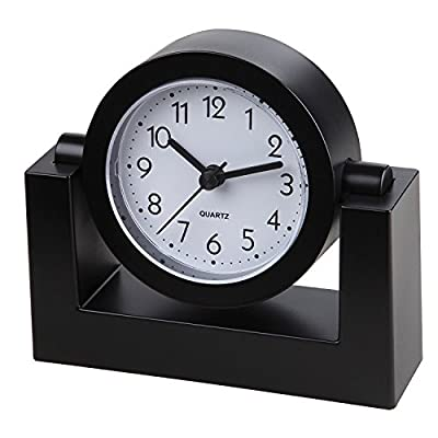 "Small Battery Operated Analog Travel Alarm Clock Silent No Ticking, Lighted on Demand and Snooze, Beep Sounds, Gentle Wake, Ascending Alarm, Easy Set (Black) - Tabletop clock features a swivel body to angle the clock face for easy viewing anywhere on your desk, table, nightstand, end table, shelf, etc. 4"" Quiet step movement second hand. Quartz movement desk clock runs on one AA battery (sold separately). - clocks, bedroom-decor, bedroom - 5162nIb0mkL. SS400  -"