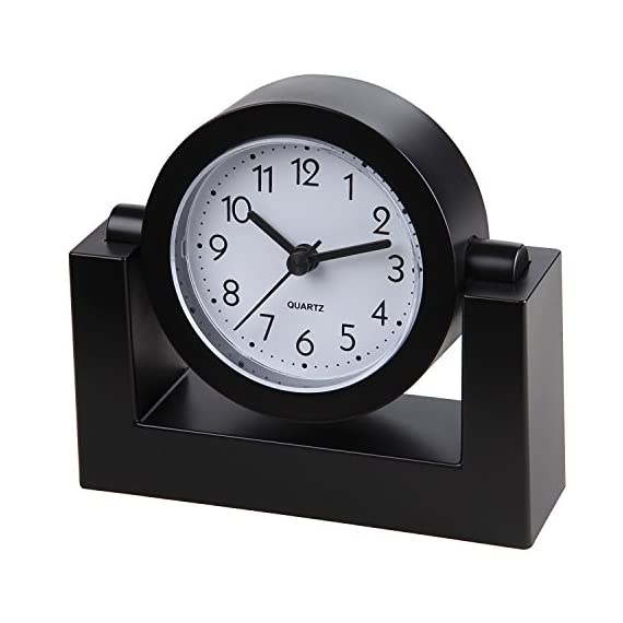 "Small Battery Operated Analog Travel Alarm Clock Silent No Ticking, Lighted on Demand and Snooze, Beep Sounds, Gentle Wake, Ascending Alarm, Easy Set (Black) - Tabletop clock features a swivel body to angle the clock face for easy viewing anywhere on your desk, table, nightstand, end table, shelf, etc. 4"" Quiet step movement second hand. Quartz movement desk clock runs on one AA battery (sold separately). - clocks, bedroom-decor, bedroom - 5162nIb0mkL. SS570  -"