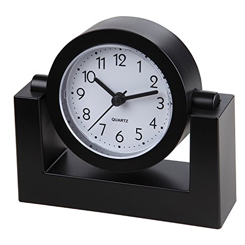 5162nIb0mkL - Small Battery Operated Analog Travel Alarm Clock Silent No Ticking, Lighted on Demand and Snooze, Beep Sounds, Gentle Wake, Ascending Alarm, Easy Set (Black)