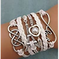 HOT Jewelry Gifts Heart Eiffel Tower Leather Cute Infinity Charm Bracelet Bangle