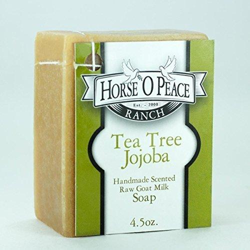Handmade Herbal 100% Raw Goat Milk Tea Tree Jojoba Soap (4.5oz./Bar)
