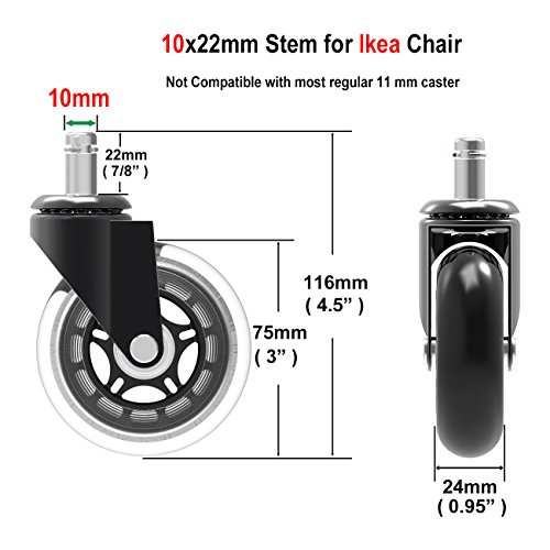 Herrman 10 mm stelo chair caster wheel replacement for Ikea pavimenti in legno