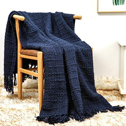 ZIGGUO Chunky Thick Knit Throw Blanket Navy Blue for Couch Chair Sofa Bed, Chic Boho Style Woven Textured Blanket with Decorative Fringe, 50