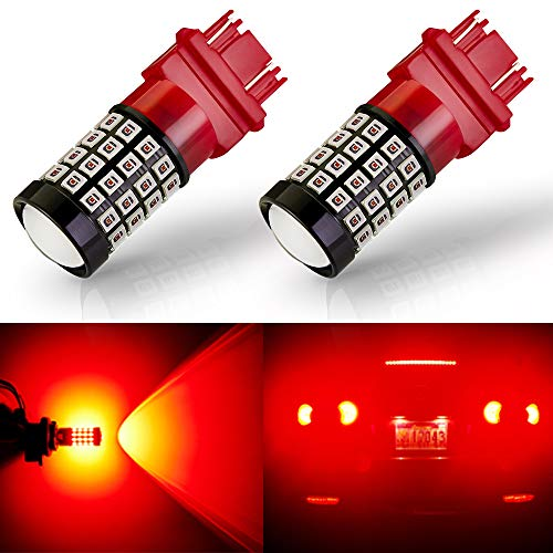 ANTLINE Newest 3157 LED Bulb Red (2 Pack), 9-30V Super Bright 1600 Lumens 3156 3057 3056 4057 4157 52-SMD LED Lamps with Projector for Replacement, Work as Tail Brake Turn Signal Blinker Lights