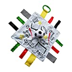 Baby-Sensory-Educational-Teething-Closed-Ribbon-Tag-Lovey-Blanket-with-Security-Plush-10X10-Soccer-Futbol
