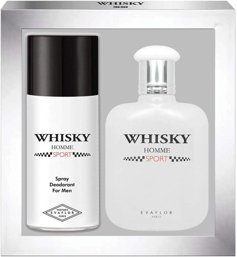 WHISKY Sport • Coffret Eau de Toilette 100ML + Déodorant 15OML • Vaporisateur • Spray • Parfum Homme • Cadeau • EVAFLORPARIS