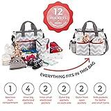 Baby Diaper Bag Chevron - Bottle Bag & Changing Mat - New design 2017 - 13 Pockets Premium Diaper Bag, Babys Organiser Weekender Baby Bag Tote - Best Baby Shower Gift for Mom and Dad
