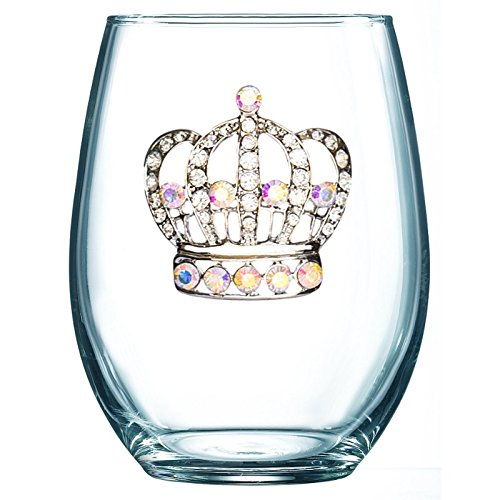 Large Crown Jeweled Stemless Wine Glass Hampton Large Post