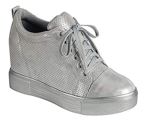 Best Silver Metallic Lace Up Hightop Sneakers Women Rubber Sole Fashion Casual Flashy Bling Fashion Fun Winter Sketcher Bootie Shoe Last Minute Christmas Special Sale for Teen Girl (Size 8, Silver) -
