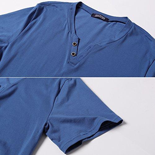 Corta Harrms Zafiro Colores Pico Para Camiseta Elástica Manga Botones Elegir Casual Hombre De Cuello Múltiples Con Azul BqSXwqArx