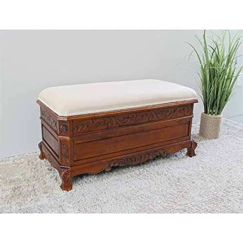 Carved Trunk Bench with Cushion Top (stain) (18'H x 35'W x 17'D)