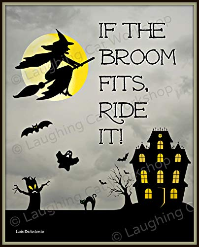 Funny Halloween Decor Flying Witch art Ghost art