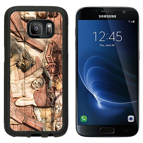 MSD Premium Samsung Galaxy S7 Aluminum Backplate Bumper Snap Case Fisherman wall art carved sculpture on the blocks of rock IMAGE 36454789 (Walls The On Carved)