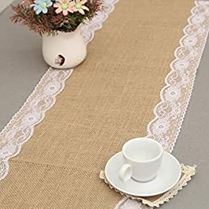 gluckliy Vintage Arpillera Lace Hessian Table Natural boda Decoración – Manteles de Mesa Decoración