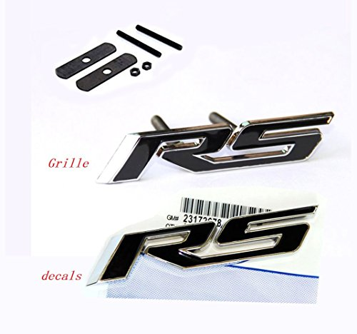 Yoaoo 1x OEM Grille Rs With Decal Rs Emblem Badge 3D Logo Allloy for Camaro Gm Series Black